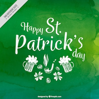 Green watercolor background with sketches of saint patrick's day beer