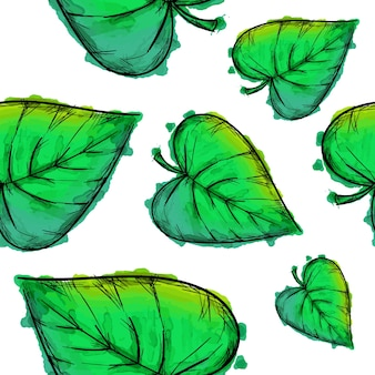 Green watercolor leaves pattern background