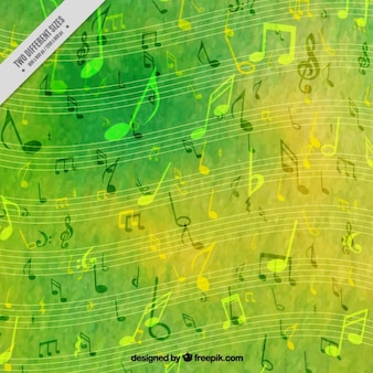 Green watercolor musical background