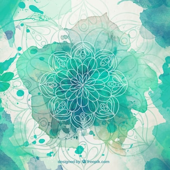 Green watercolor splashes mandala background