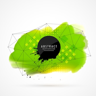 Green watercolor stain background with geometric shapes