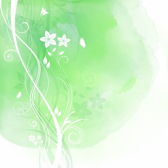 Green watercolor texture with floral elements