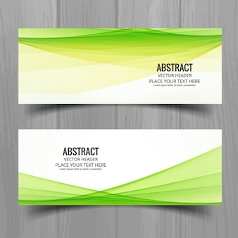 Green wavy banners in modern style