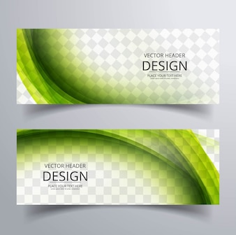 Green wavy banners