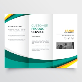 Green wavy business brochure