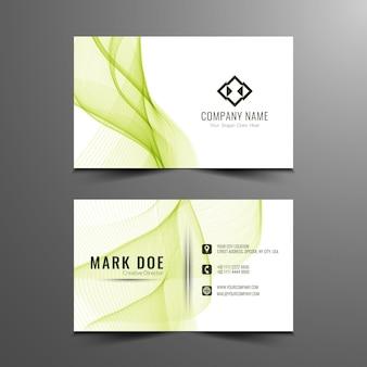 Green wavy business card template