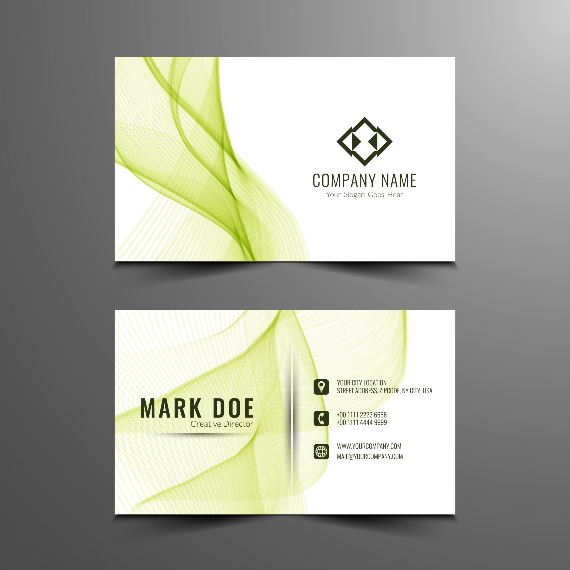 Green wavy business card template