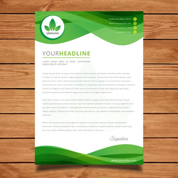 Green wavy letter template