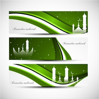 Green wavy Ramadan mubarak banners set