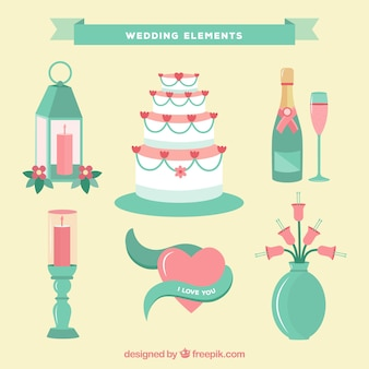 Green wedding elements collection