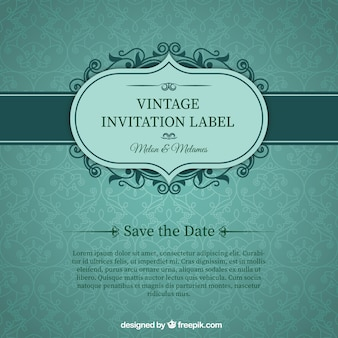 Green wedding invitation card