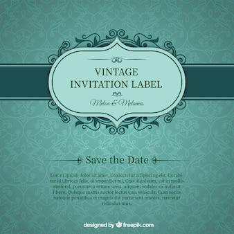 Green wedding invitation card