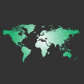 Green World Map Background