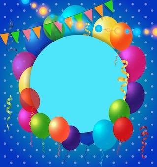 Greeting Card and Balloons on Dot Pattern