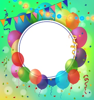 Поздравительная открытка, воздушные бельма равно круглая рамка