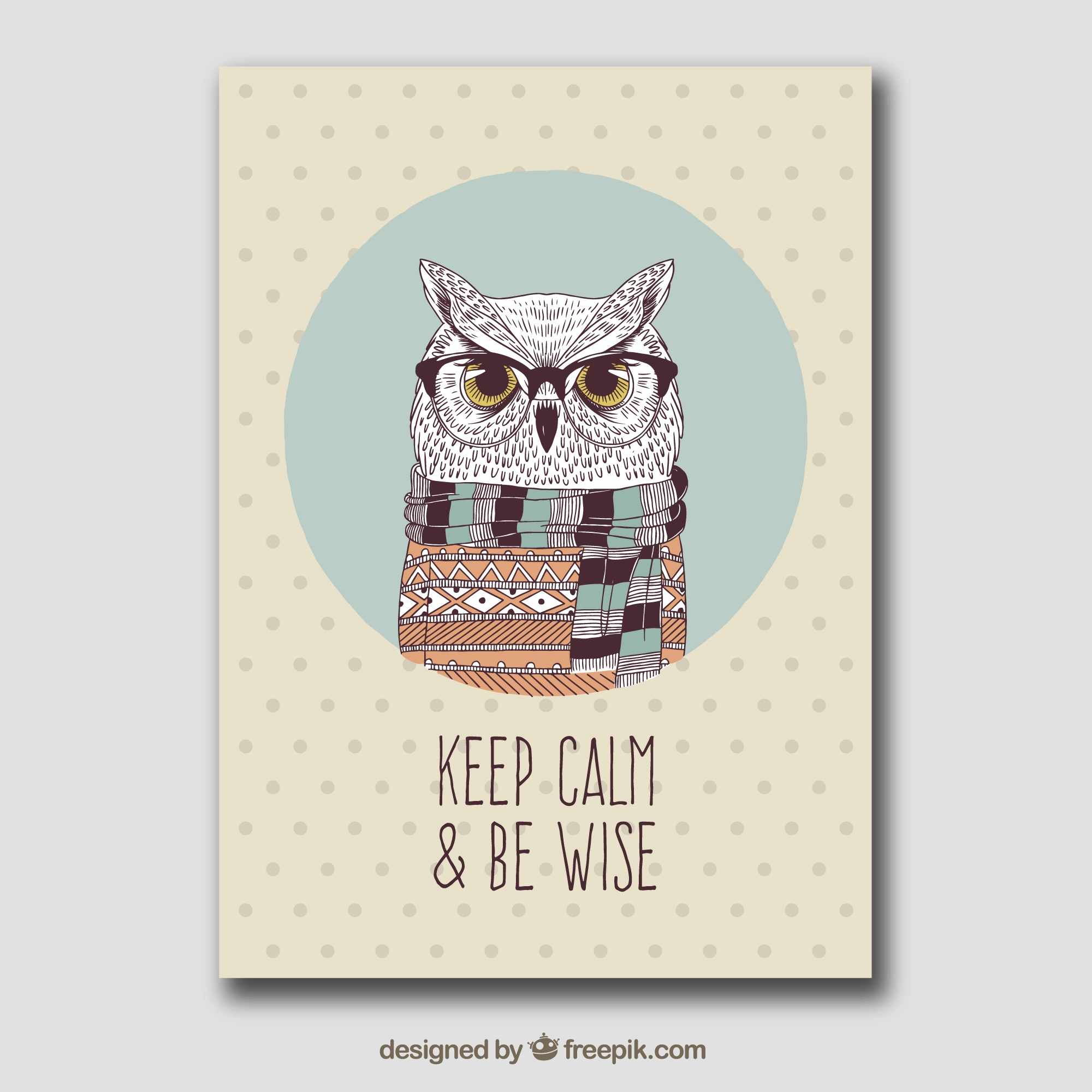 Greeting card of owl with sweater and scarf