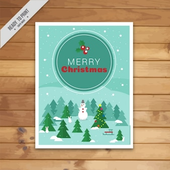 Greeting card with a christmas tree and a snowman in flat style