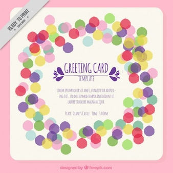 Greeting card with colorful confetti