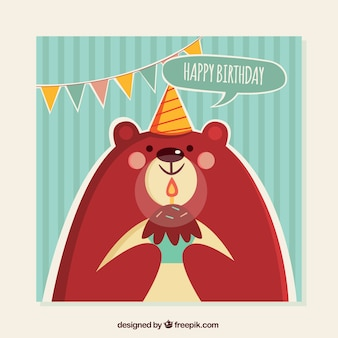 Greeting card with cute bear for birthdays