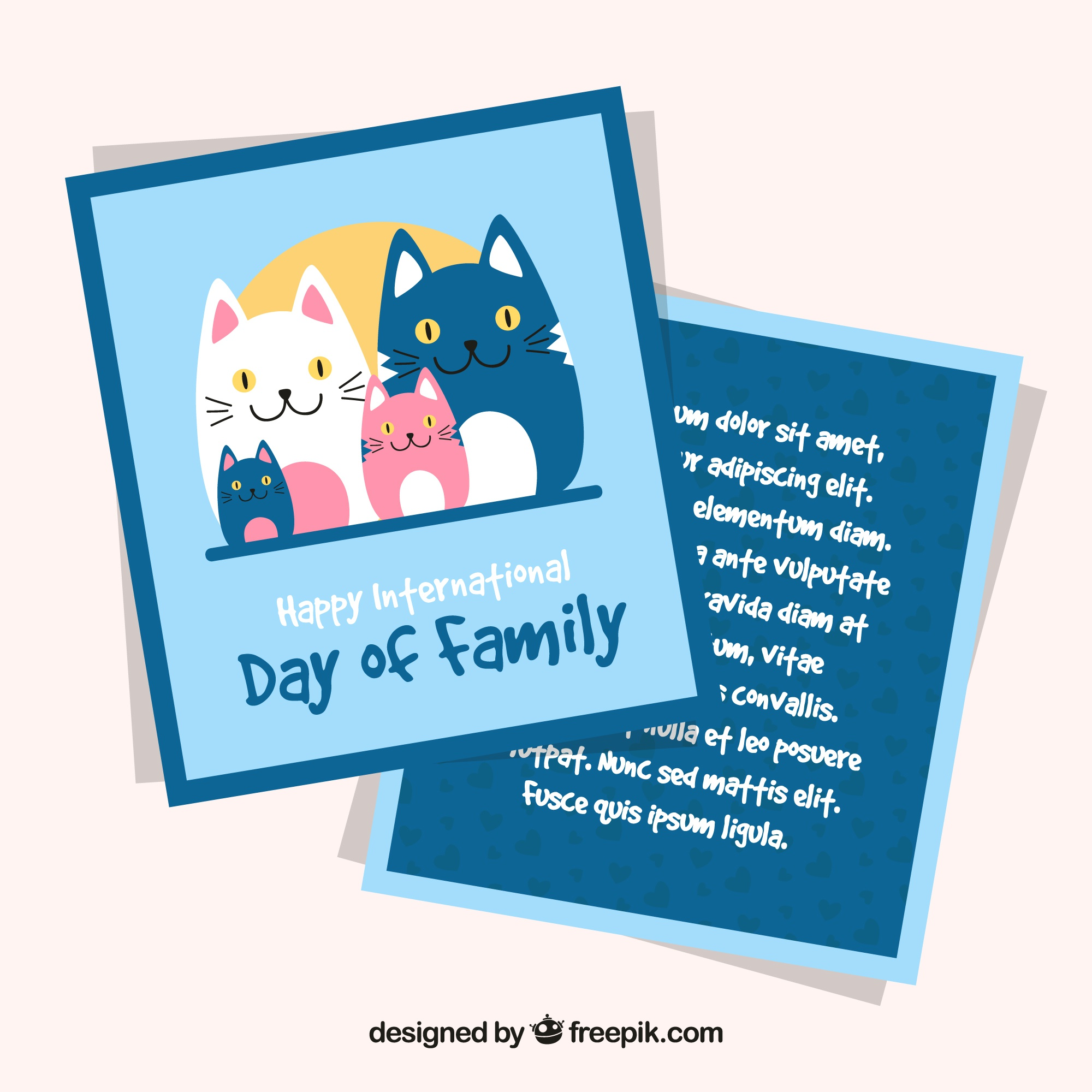 Greeting card with cute cats