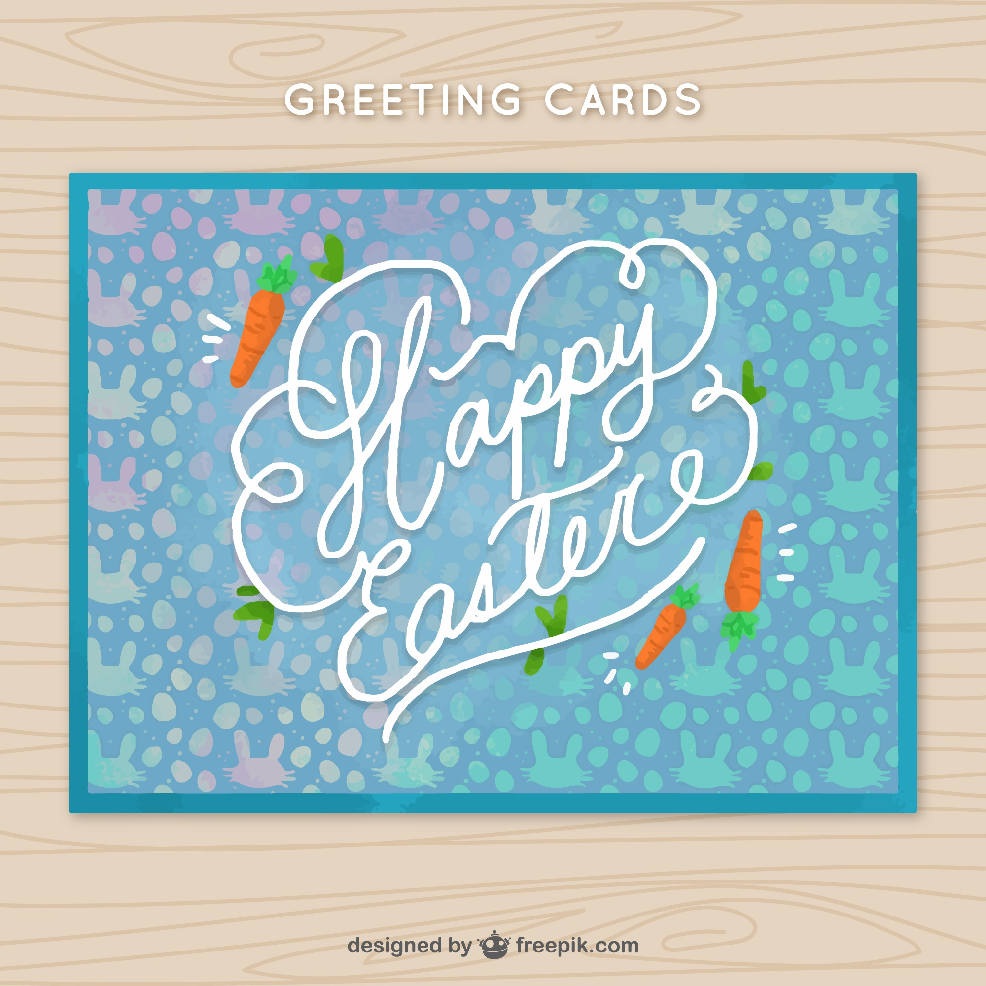 Greeting card with decorative carrots for easter day