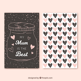 Greeting card with hand-drawn jar and hearts