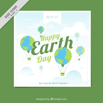 母なる地球の日のための熱気球でのグリーティングカード