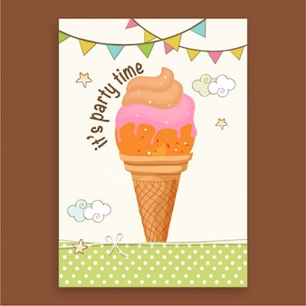 Greeting card with ice cream and garlands