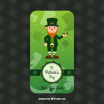 Greeting card with leprechaun for st patrick's day