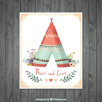 Greeting card with tent and floral decoration