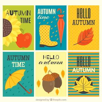 Greeting cards with autumnal items