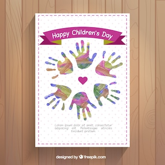 Greeting of children's day watercolor hands