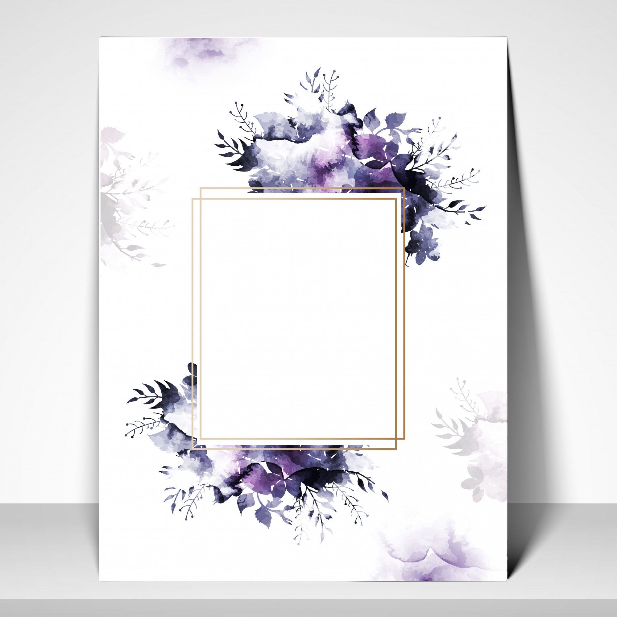 Greeting or Invitation Card template with watercolor flowers.