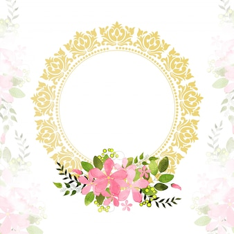 Greeting or Invitation Card with pink flowers.