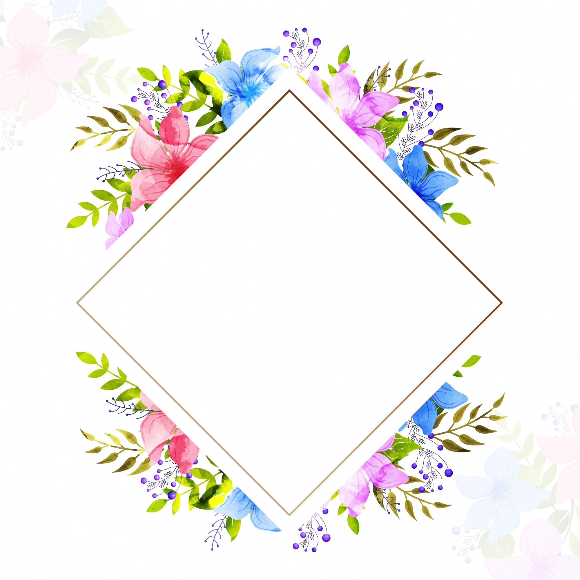 Greeting or Invitation Card with watercolor flowers.