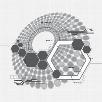 灰色の六角形の抽象的な背景