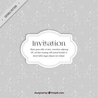Grey invitation with floral details