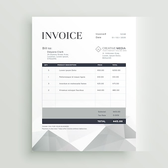 Grey invoice template with geometric shapes