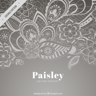 Grey paisley floral background