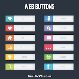 Grey web buttons collection
