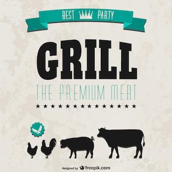 Grill party retro style invitation