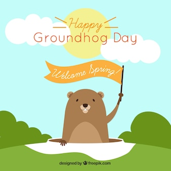 Groundhog background with a ribbon