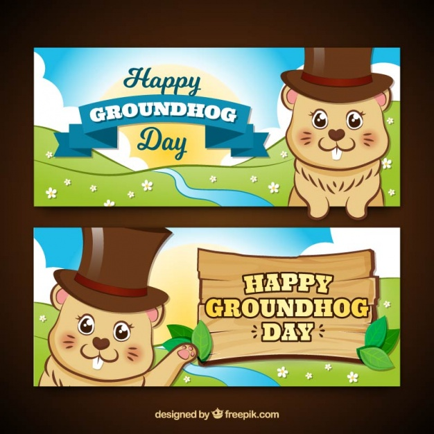Groundhog day banners in cartoon style