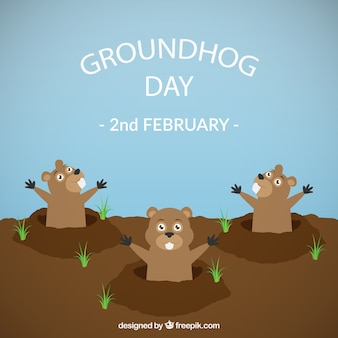 Groundhog day funny illustration
