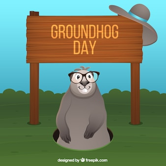 Groundhog with glasses illustration