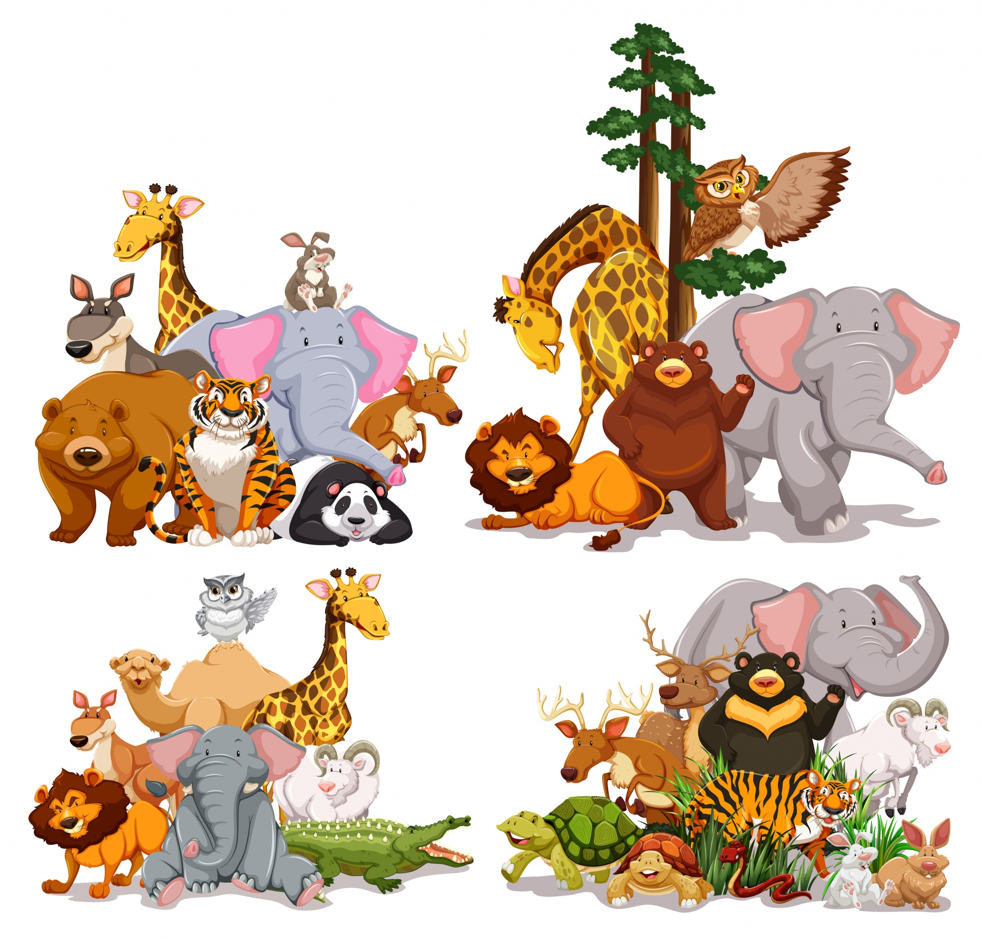 Group of different types of animals illustration