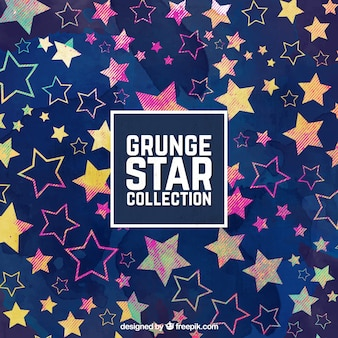 Grunge background with colorful stars