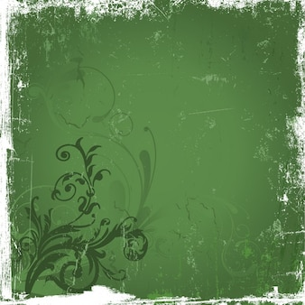 Grunge background with floral detail