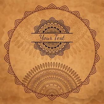 Grunge background with round ornamental frame