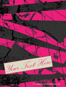 Grunge banner with pink stripes